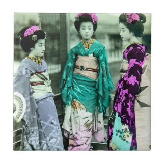 Vintage Three Young Geisha in Old Japan Ceramic Tiles