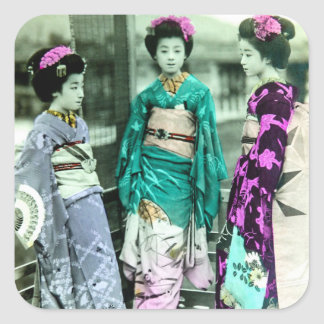 Vintage Three Young Geisha in Old Japan Square Sticker