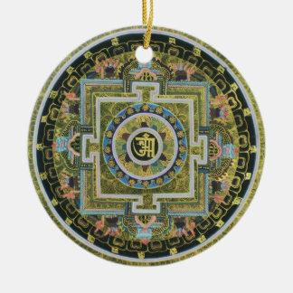 Vintage Tibetan Tantric Buddhism Mandala Thangka Round Ceramic Ornament