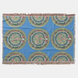 Vintage Tibetan Tantric Buddhism Mandala Throw Blanket