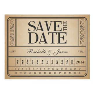 Vintage Ticket II -- Save the date punch out Postcard