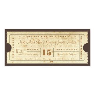 """Vintage Ticket Invitation 4"""" X 9.25"""" Invitation Card"""