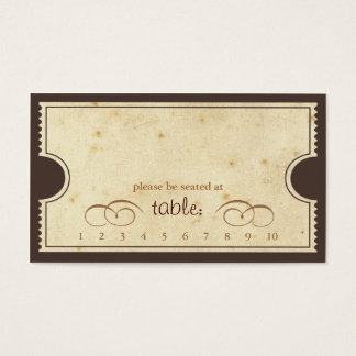 Vintage Ticket - Punch Card Escort Card