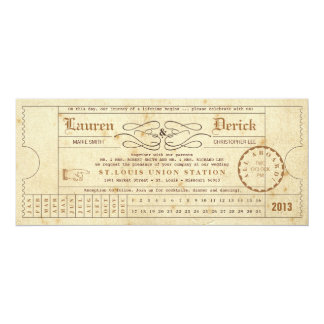 Vintage Ticket Punch Card Tea Length Invitation