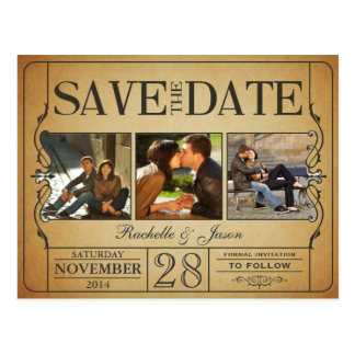 Vintage Ticket Save the Date -- 3 images 2.0 Postcard