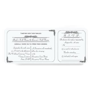 "Vintage Ticket Style Wedding Invitation with RSVP 4"" X 9.25"" Invitation Card"