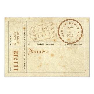 Vintage Ticket Tab Response Card