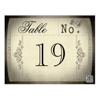 Vintage Ticket Wedding Table Numbers Postcard