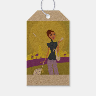 Vintage ticket with hand-drawn Girl Gift Tags