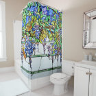 Vintage Tiffany Stained Glass Wisteria Floral Art