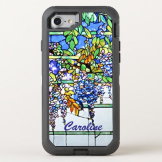 Vintage Tiffany Stained Glass Wisteria Floral Art OtterBox Defender iPhone 7 Case