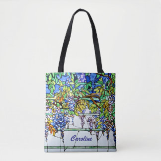 Vintage Tiffany Stained Glass Wisteria Floral Art Tote Bag