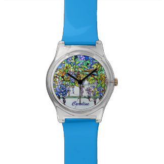 Vintage Tiffany Stained Glass Wisteria Floral Art Wrist Watch