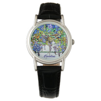 Vintage Tiffany Stained Glass Wisteria Floral Art Wrist Watches
