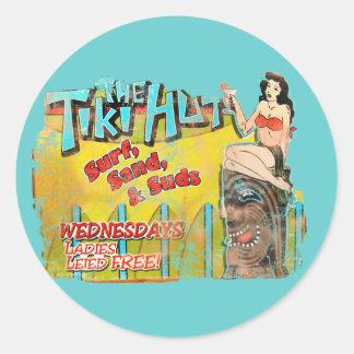 Vintage Tiki Hut Funny Classic Round Sticker