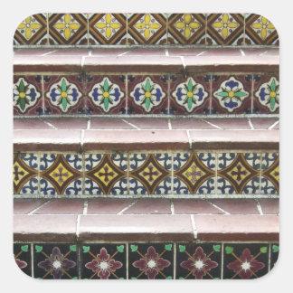 Vintage Tile Steps Square Sticker