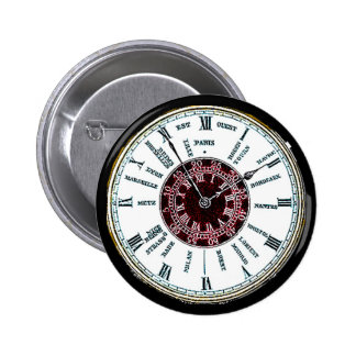 Vintage time zone watch 2 inch round button
