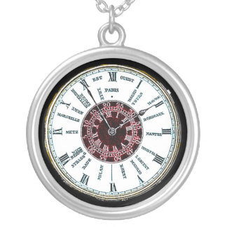Vintage time zone watch round pendant necklace
