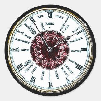Vintage time zone watch round sticker