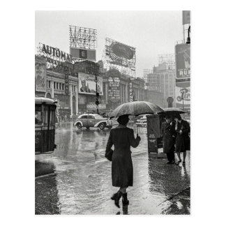 Vintage Times Square NYC Rainy Day Postcard