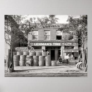 Vintage Tire Shop Photo, Mechanic, Custom Poster