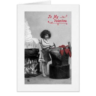 Vintage To My Valentine Card (black & white & red)