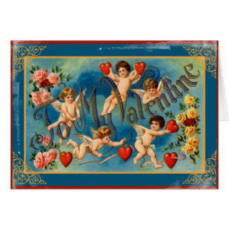 Vintage To My Valentine Cupids and Hearts Card