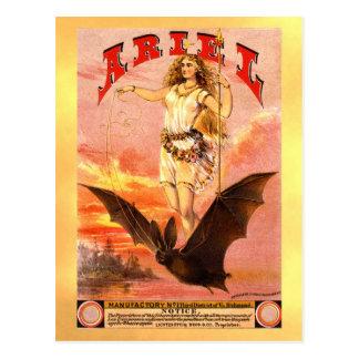 Vintage tobacco label with woman riding a bat postcard