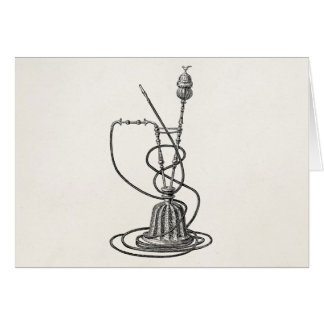 Vintage Tobacco Pipes and Hookah Old Illustration Card