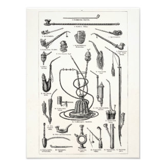 Vintage Tobacco Pipes and Old Hookah Illustration Photo Art