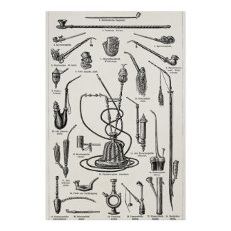 Vintage Tobacco Pipes Hookah Antique Illustration Poster