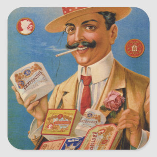 Vintage Tobacco Products Russian Smokes Cigars Square Sticker