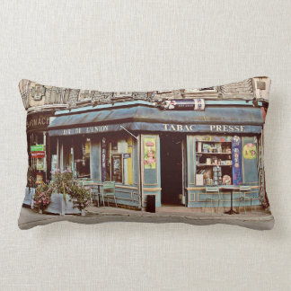 Vintage tobacco shop in France Lumbar Pillow