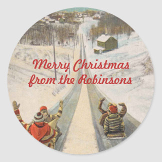 Vintage toboggan sleds Christmas Classic Round Sticker