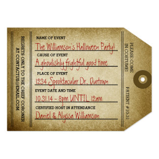 "Vintage Toe Tag Halloween Party 5"" X 7"" Invitation Card"