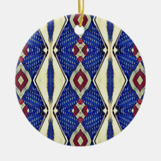 Vintage Toned Red White Blue Patriotic Pattern Round Ceramic Ornament