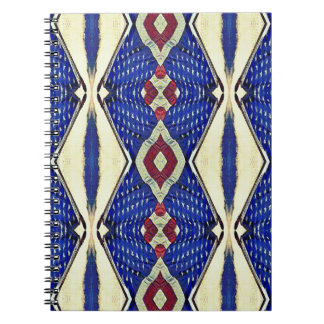 Vintage Toned Red White Blue Patriotic Pattern Spiral Note Book