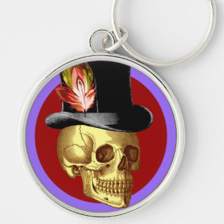 Vintage Top Hat Skull Vivid Silver-Colored Round Keychain