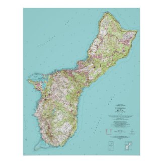 Vintage Topographical Map of Guam Poster