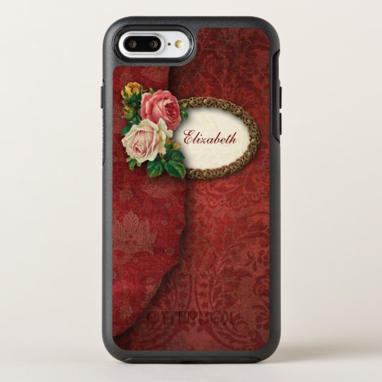 Vintage Torn Red Damask and Roses OtterBox Symmetry iPhone 7 Plus Case