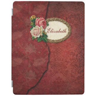 Vintage Torn Red Damask and Roses Personalized iPad Cover