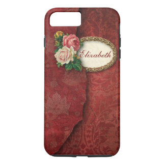 Vintage Torn Red Damask and Roses Personalized iPhone 7 Plus Case