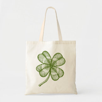 Vintage tote bag with lucky four leaves clover.