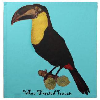 VINTAGE TOUCAN BIRD. YELLOW-THROATED TOUCAN NAPKIN