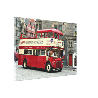 Vintage tour bus, Edinburgh, Scotland, UK Canvas Print