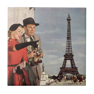 Vintage Tourists Traveling in Paris Eiffel Tower Ceramic Tiles