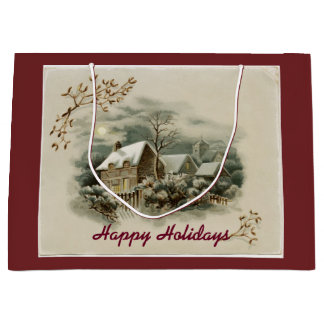 Vintage Town In Winter Large Gift Bag