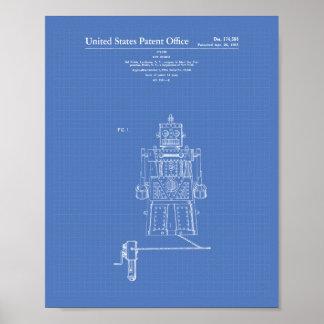 Vintage Toy Robot 1955 Patent Art Blueprint Poster