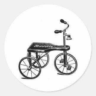 Vintage Toy Tricycle Nostalgia Round Sticker