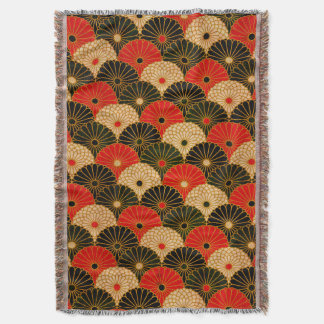 Vintage Traditional Japanese Paper Print Throw